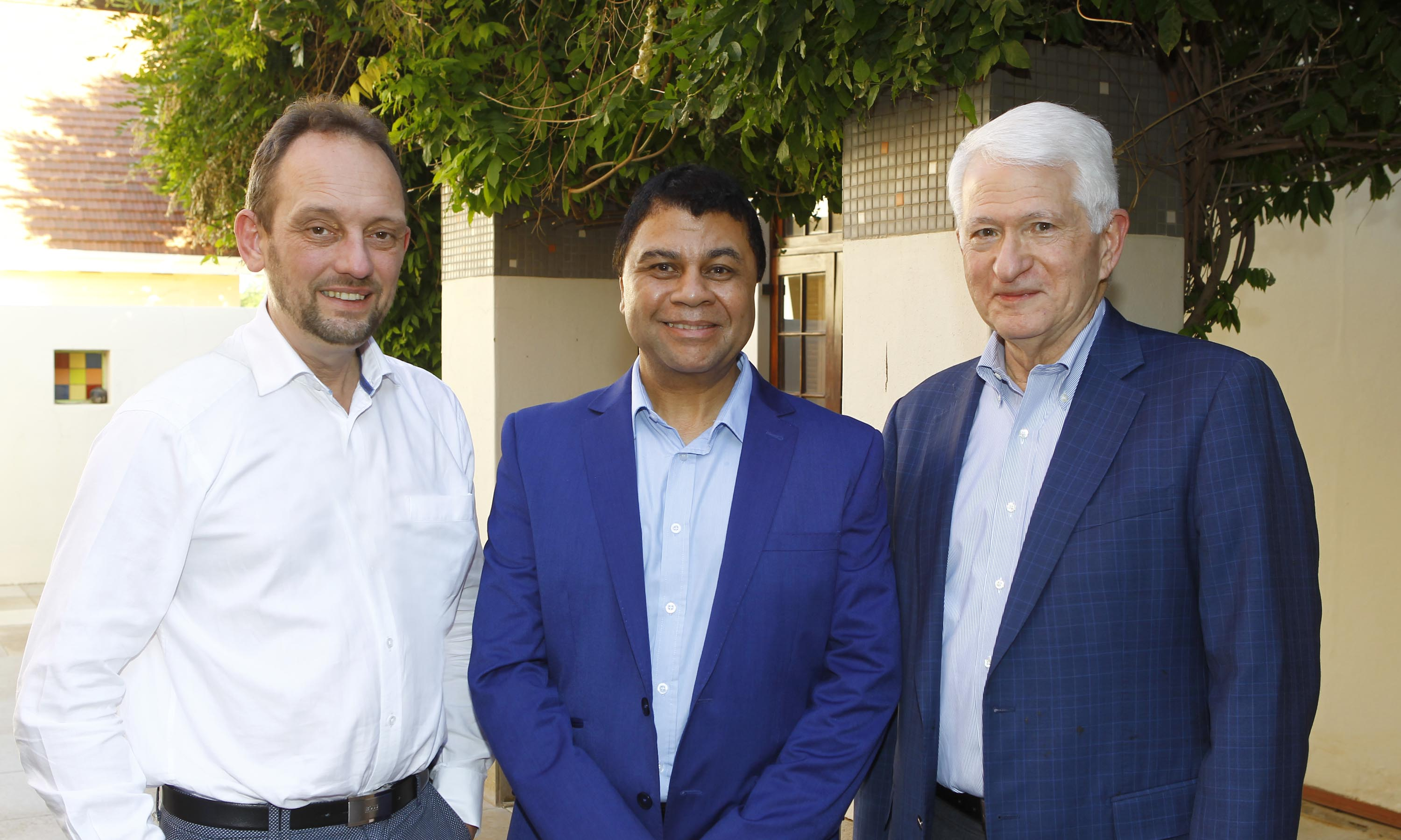 At the meet-and-greet on Monday are from left; Prof Ruad Ganzevoort, Prof Francis Pietersen and Dr Gene Block