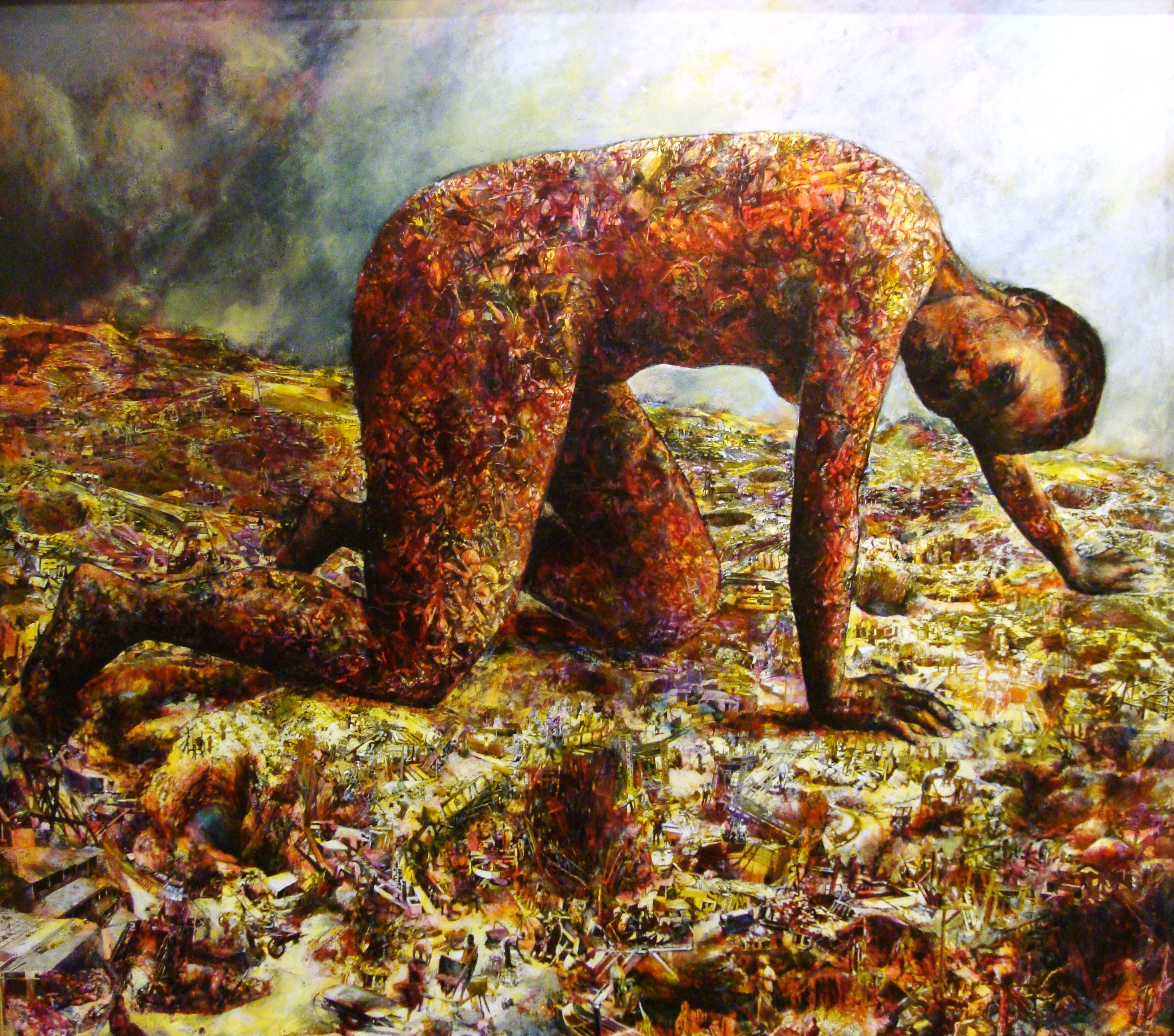 Penny Siopis, Terra Incognita, 1990, Oil and collage on board, 175 x 165cm. UFS Art Collection.