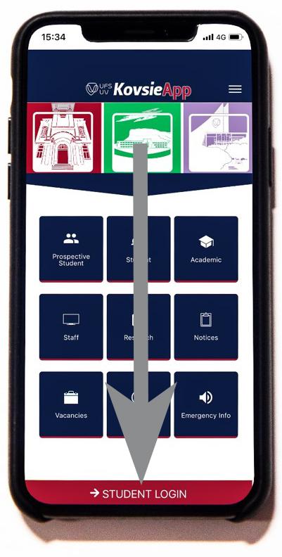 KovsieApp Landing Page w Arrow