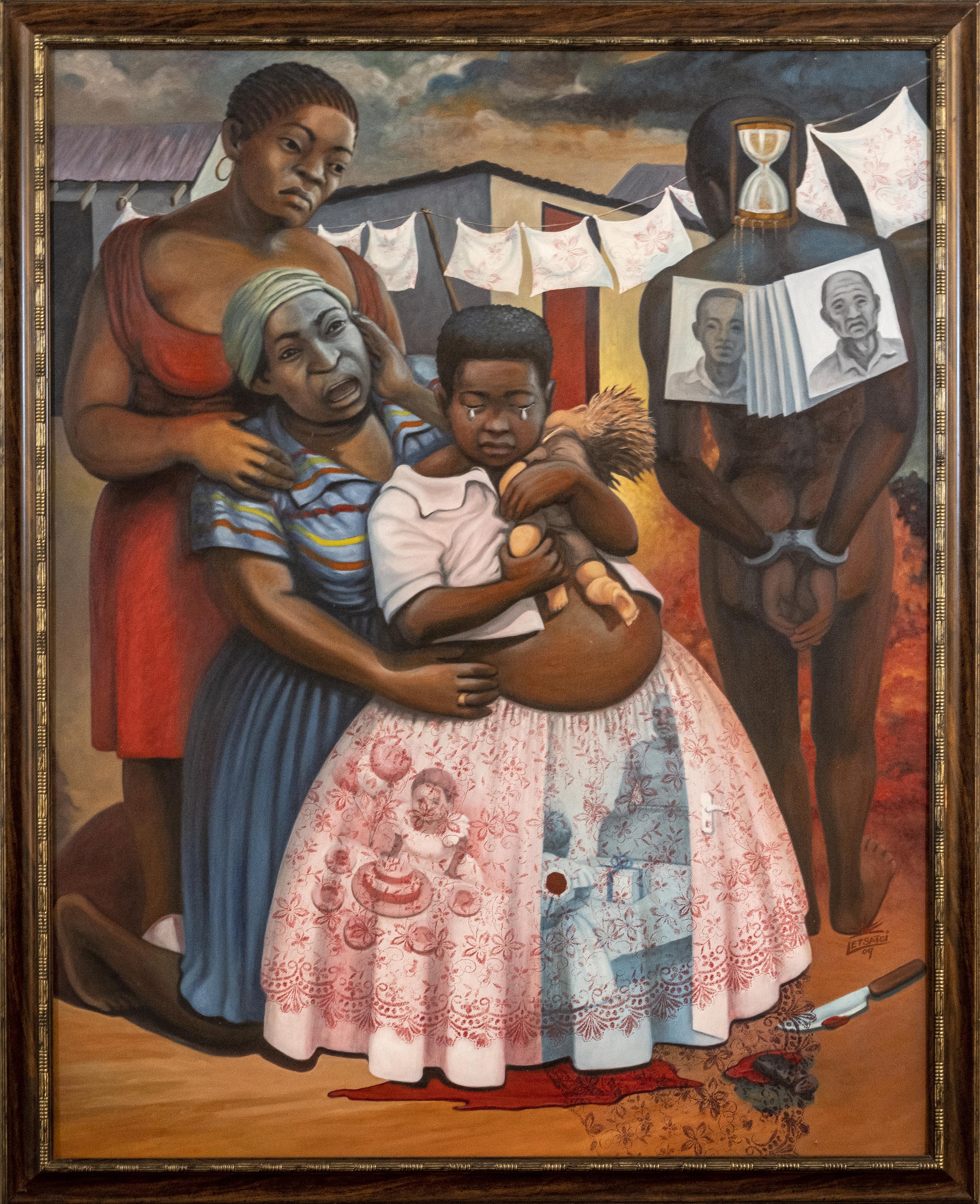 Richard Letsatsi Bolleurs, Shattered Innocence, 2009, Oil on canvas, 140 x 110cm. UFS Art Collection.