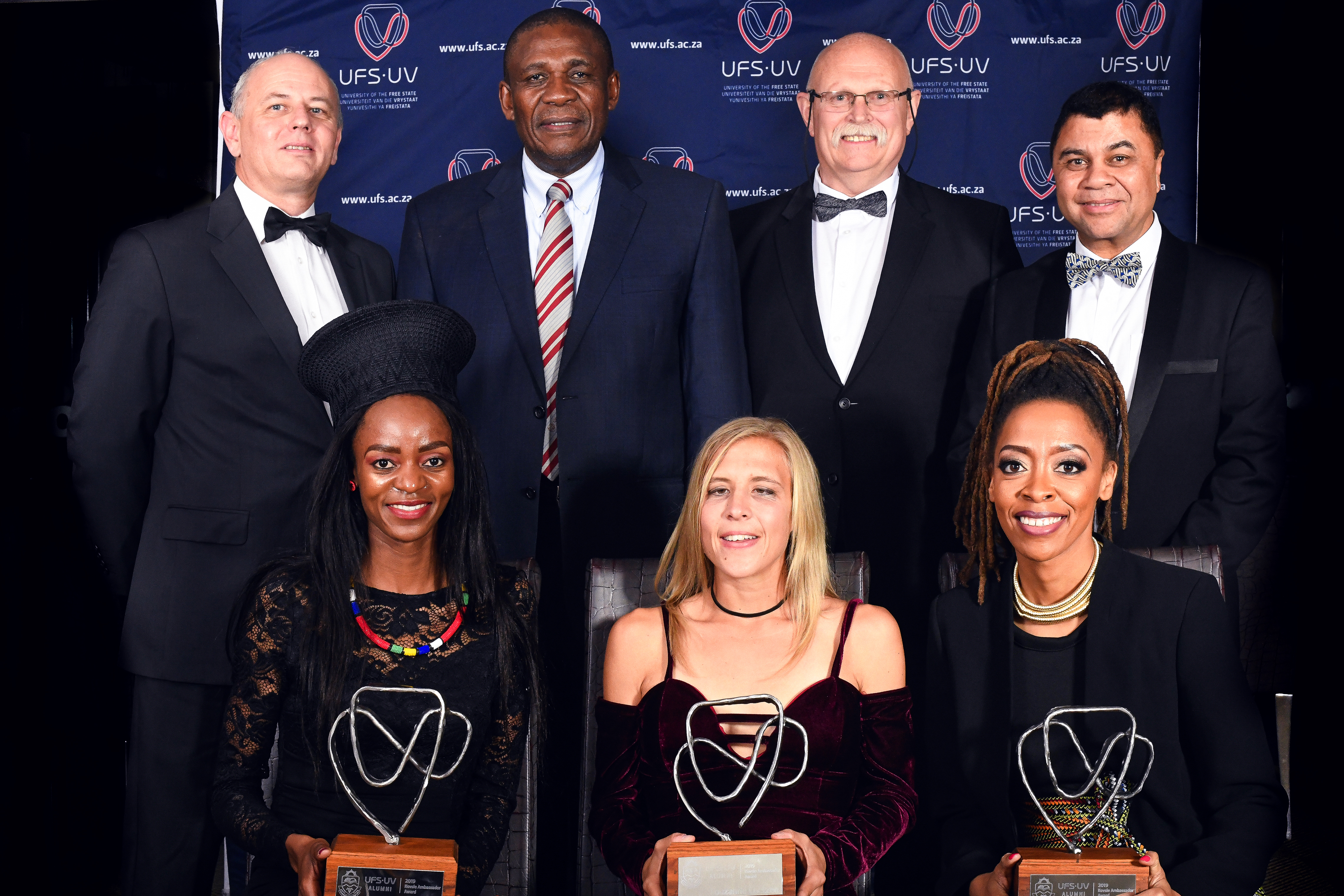 Front from left;  Kesa Molotsane, Louzanne Coetzee; Angie Khumalo (back from left); Dr Piter du Toit; Dr Khotso Mokhele; Mr Willem Louw and Prof Francis Petersen