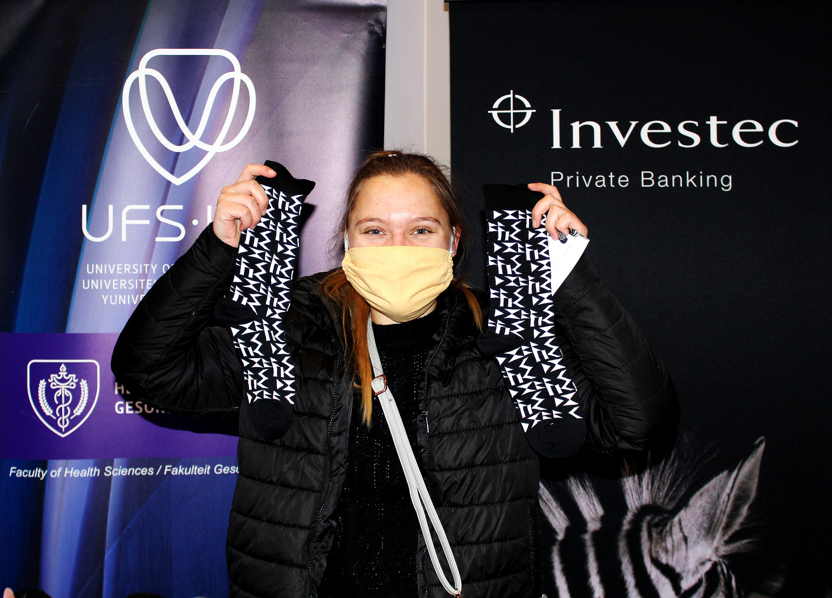 First-year student, Nicolene van Tonder, was also happy to receive a pair of socks for this special day to show her support for healthcare workers.