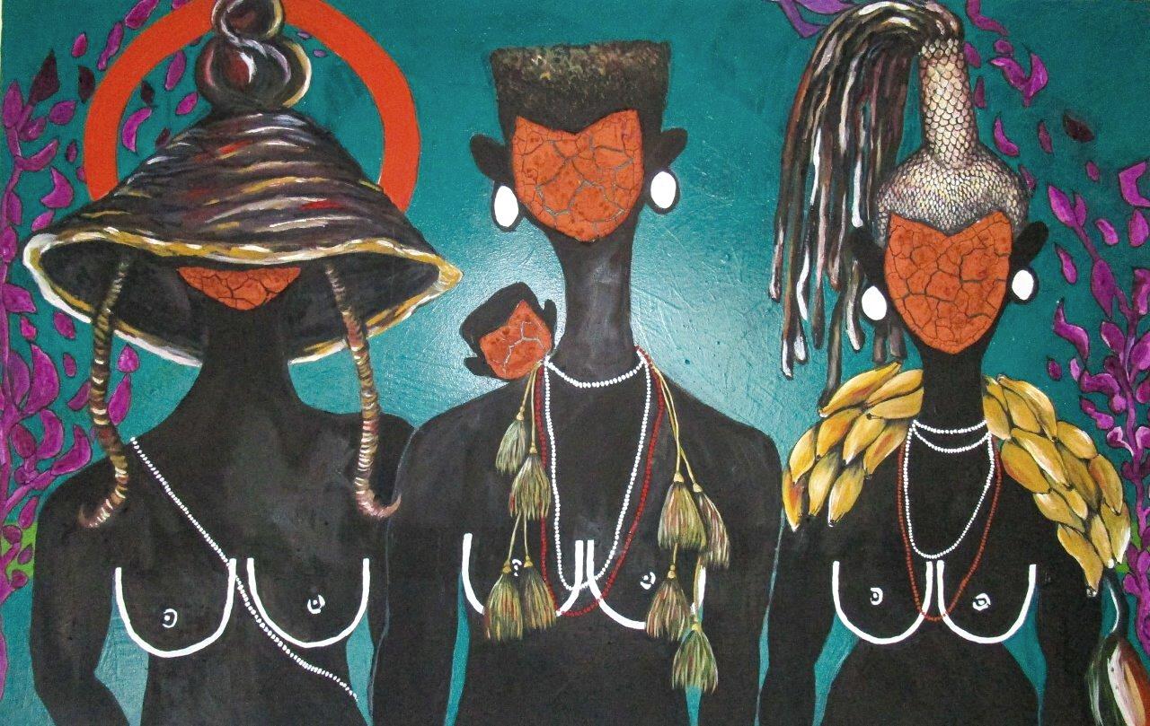 SELLOANE MOETI, Bayeza, 2019, Oil and clay on canvas, 140 x 90cm