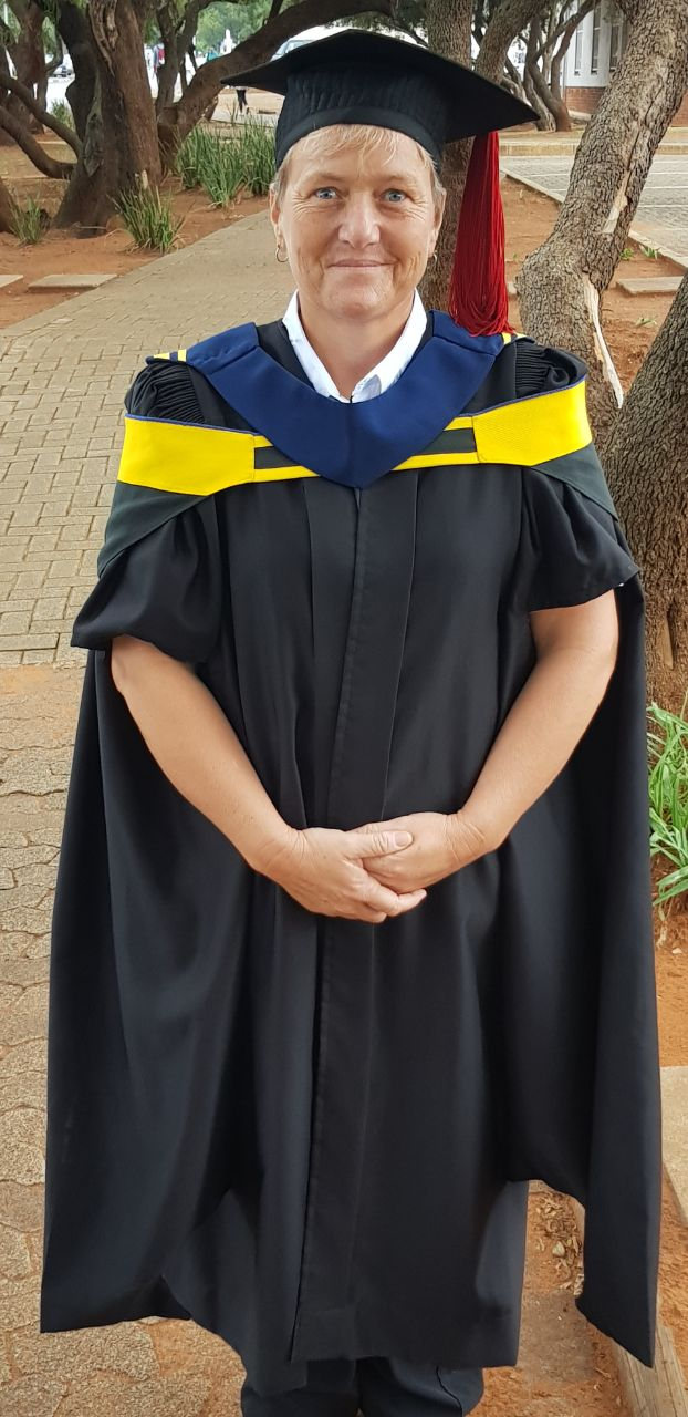 Cecelia Marais, a private nurse practitioner focusing on caregiver training, homecare, and first-aid training, who is graduating cum laude with a Master of Nursing degree, was also awarded the Dean's Medal.