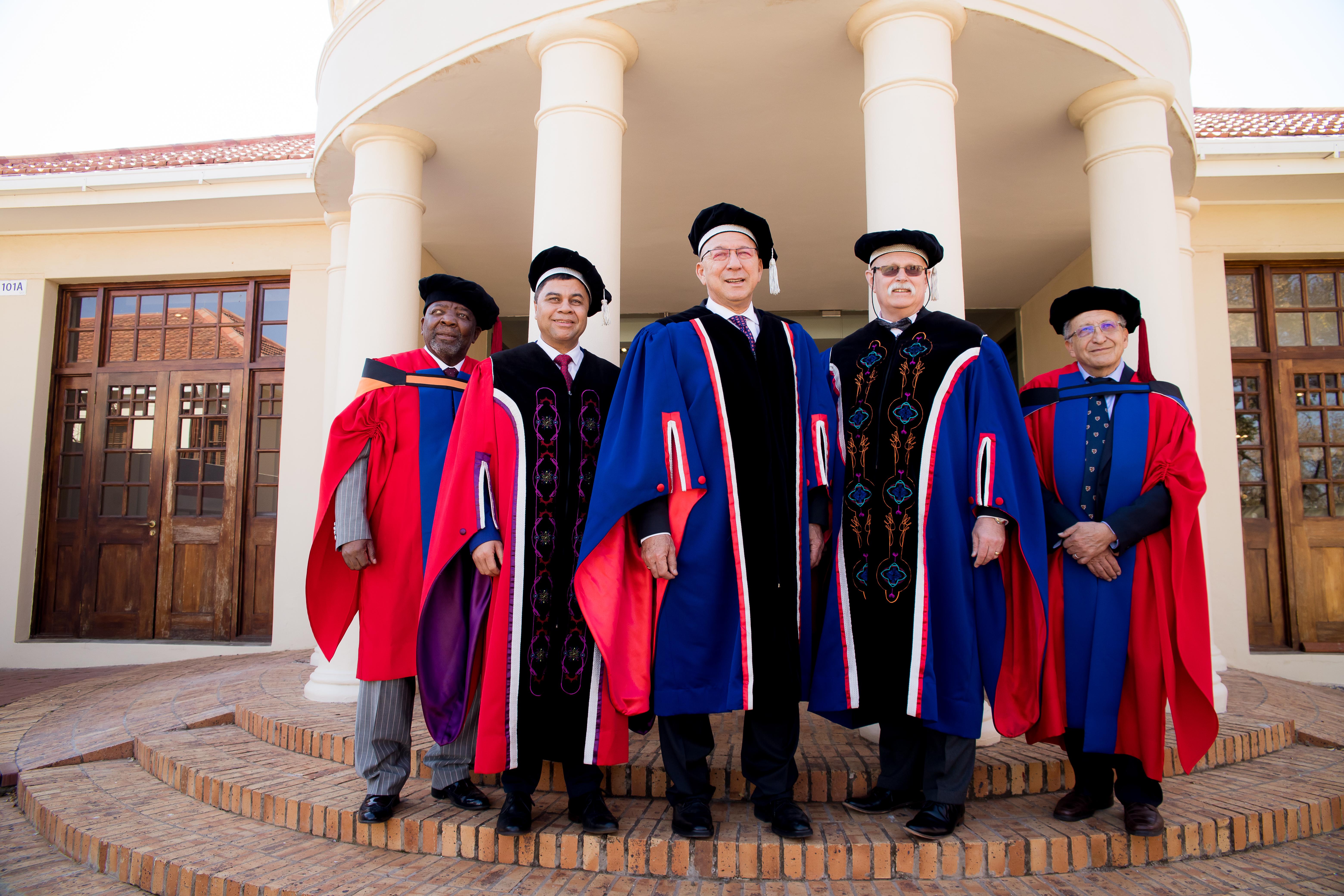 Dr Jerry Mofokeng Wa Makhetha, Prof Francis Petersen, Dr Trevor Manuel, Mr Willem Louw and Dr Bernard Fanaroff