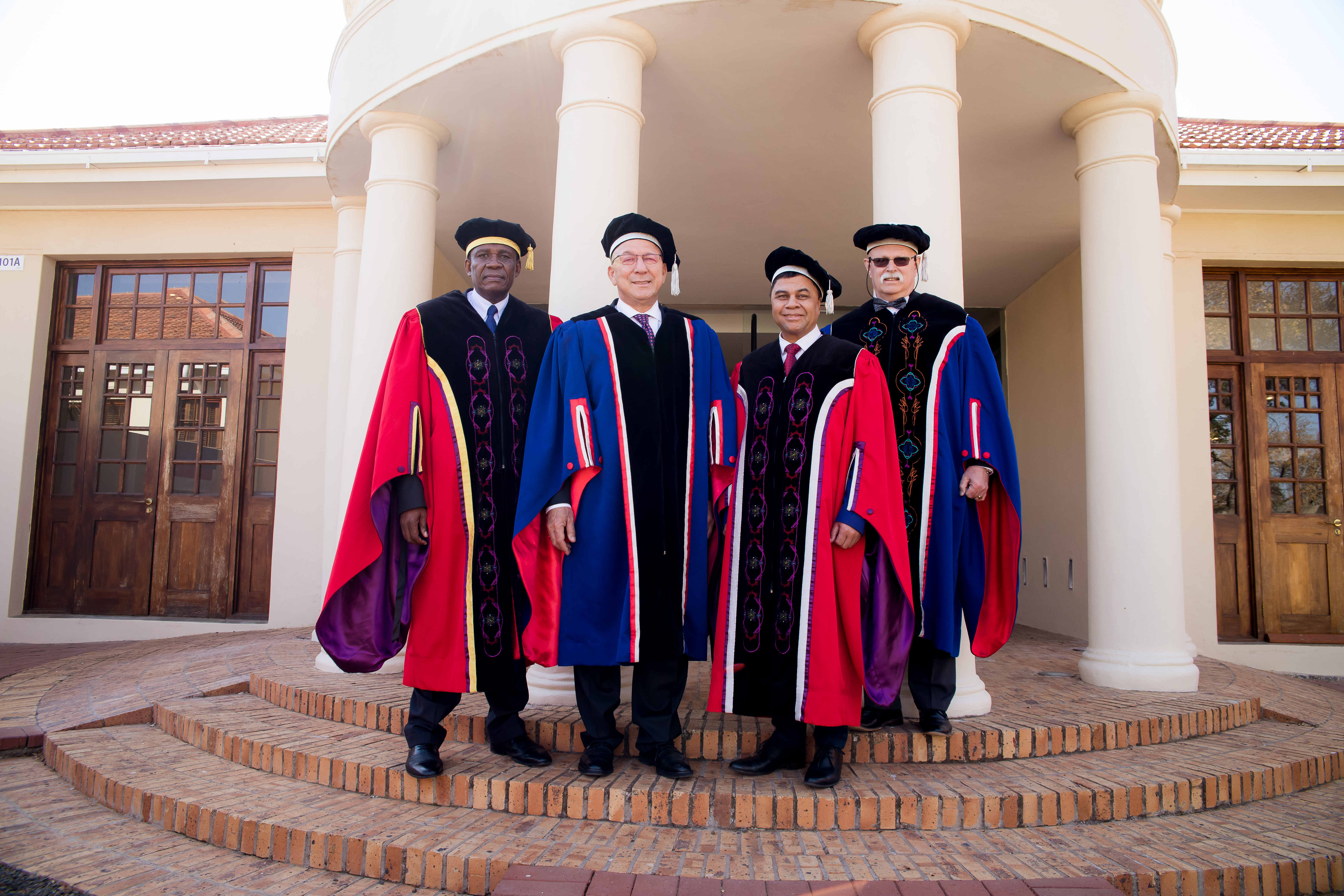 Dr Khotso Mokhele, UFS Chancellor, Dr Trevor Manueal, Prof Francis Petersen, UFS Rector and Vice-Chancellor and Mr Willem Louw, Chairperson of the UFS Council