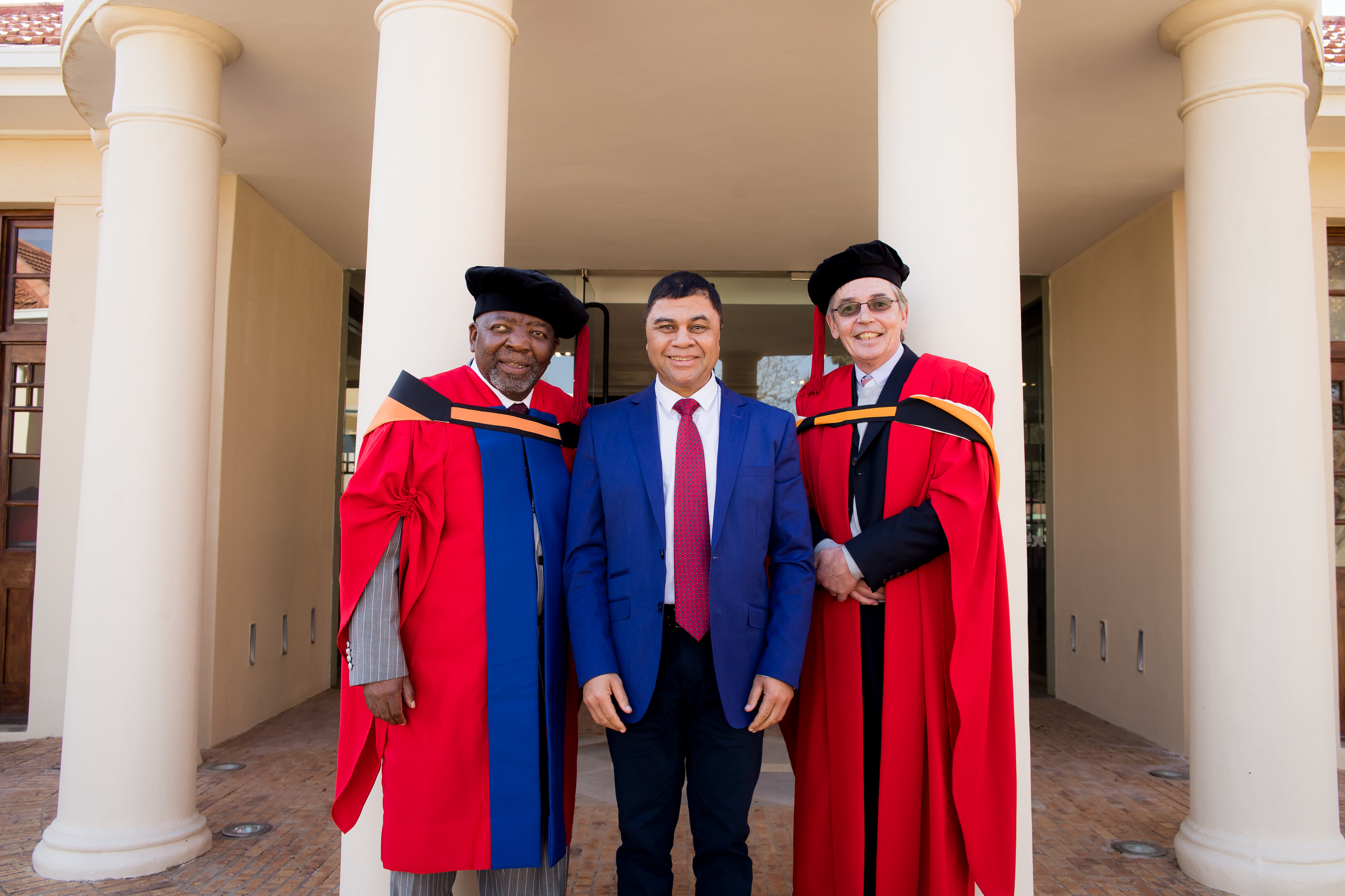 Dr Jerry Mofokeng Wa Makhetha, Prof Francis Petersen and Prof Nico Luwes, Head of the Department of Drama and Theatre Arts