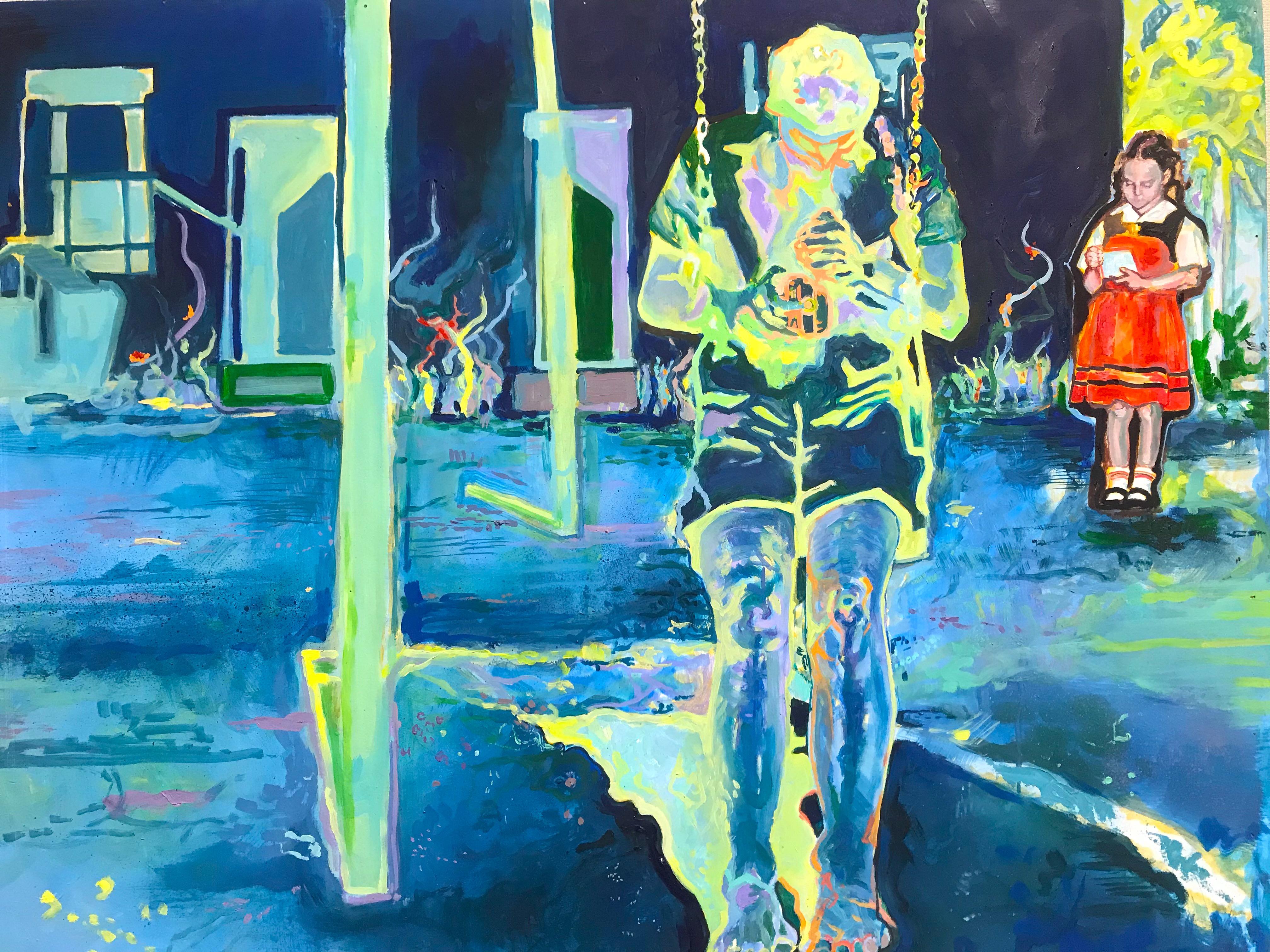 Elizabeth Bosch, Blau Macht mich Traurig, Oil on wood, 80 x 62.5 cm. Image courtesy of the artist.