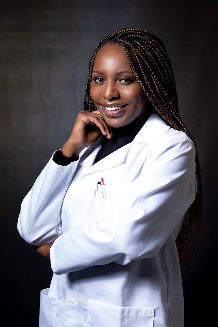 Emmie Chiyindiko, PhD student in the Department of Chemistry, says she will not stop her work to produce electricity in a wide range of light conditions as long as half of sub-Saharan Africa lacks access to reliable energy.   Photo: Supplied