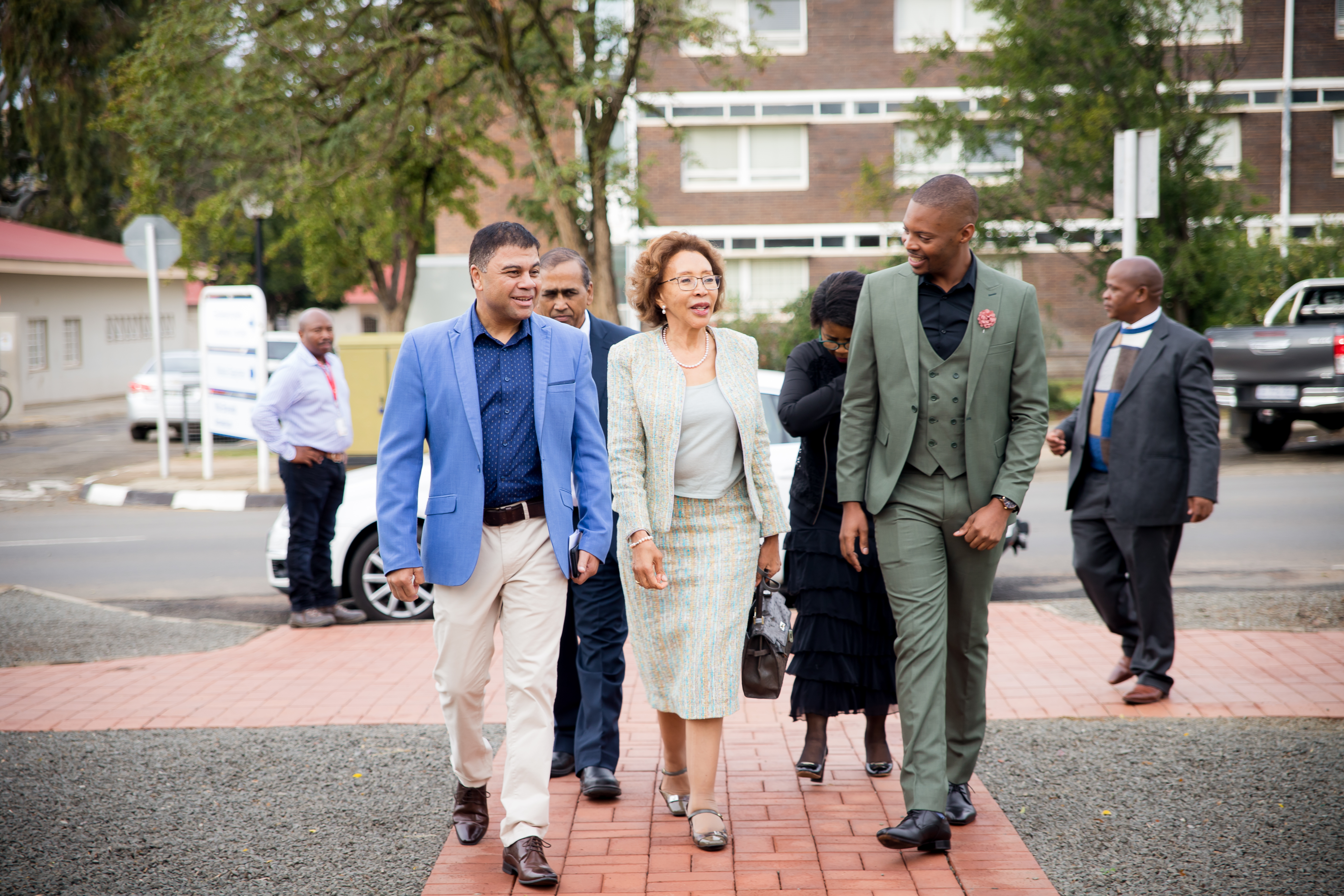 Prof Francis Petersen with Dr Tshepo Motsepe and Thapelo Chacha