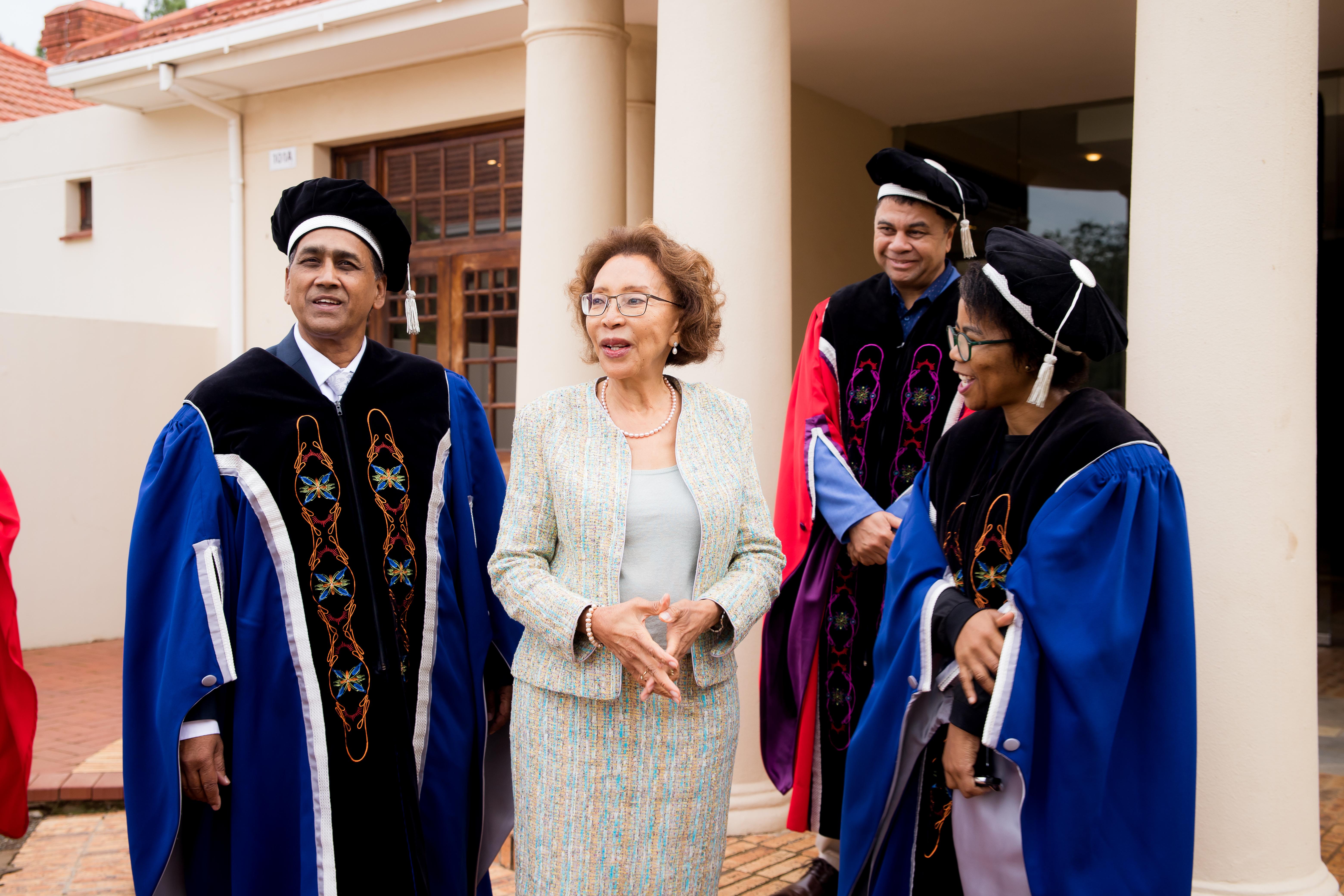 Prof Prakash Naidoo, Dr Tshepo Motsepe, Prof Francis Peteresen, and Prof Puleng LenkaBula