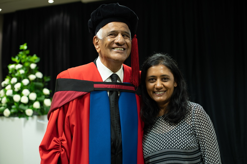 Justice Zac Yacoob with Dr Nitha Ramnath from the Department of Communication and Marketing.
