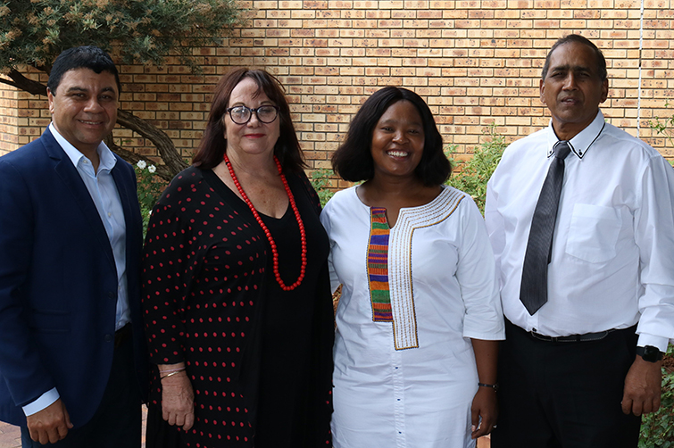 Prof Francis Petersen, Rector and Vice-Chancellor, Prof Daniella Coetzee, South Campus Principal, Tshegofatso Setilo, Director Access, Prof Prakash Naidoo, Vice-Rector Operations