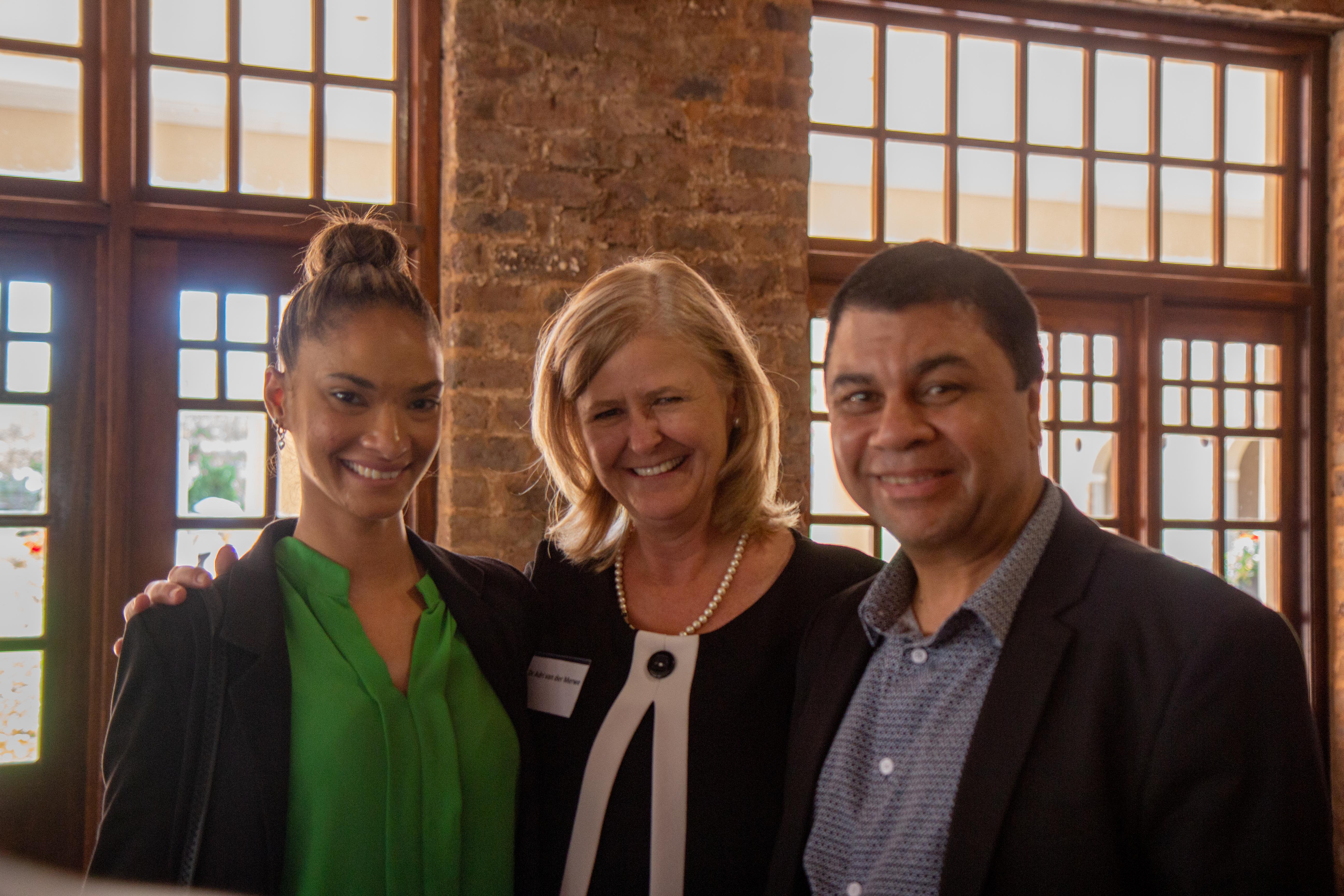 Alzane Narrain with Dr Adri van Der Merwe and Prof Francis Petersen
