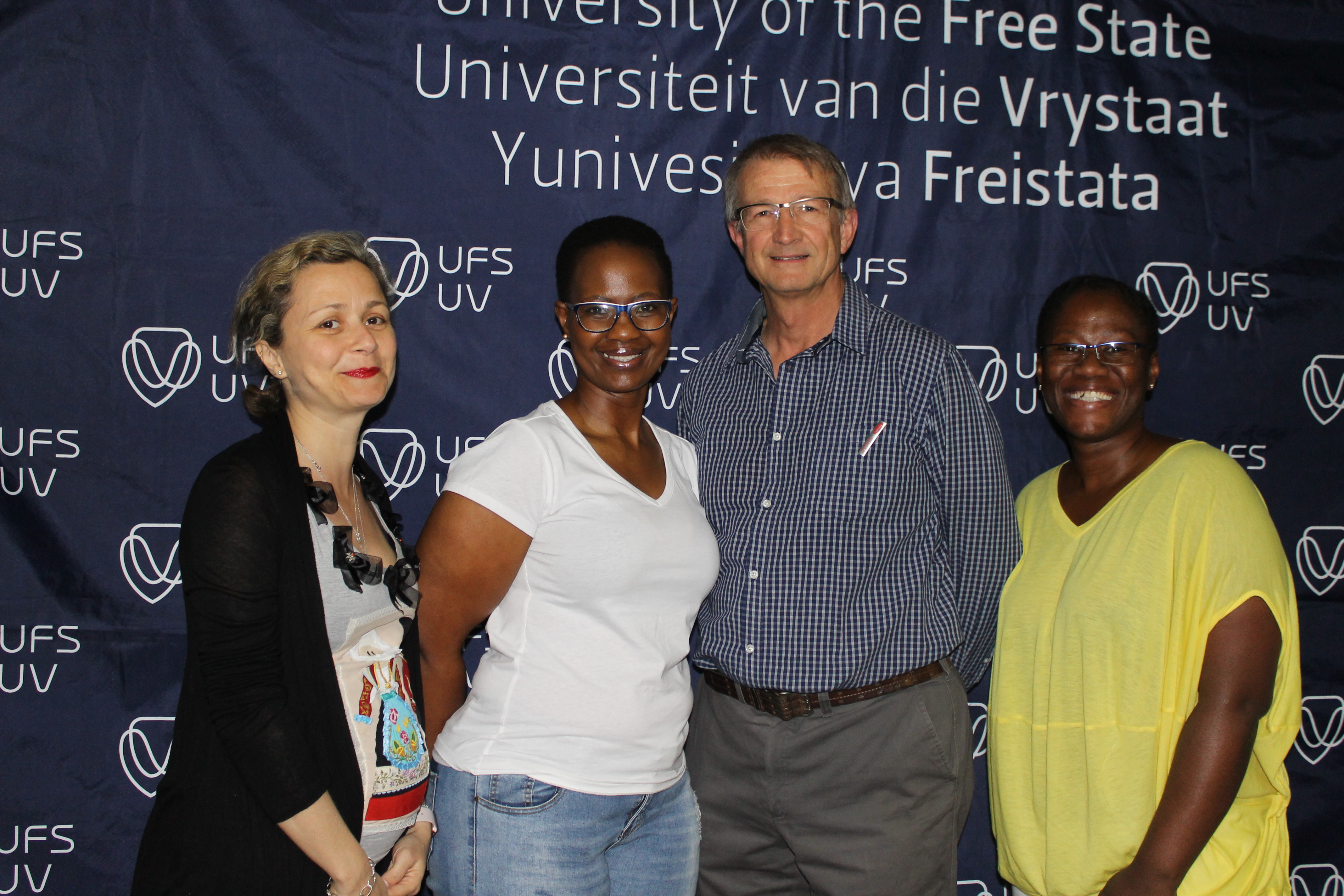 From left; Claudia Loggia, Phinda Nogcinisa, Thomas Stewart, and Phatheka Nyati. Nogcinisa and Nyati are honours students specialising in Human Settlements, who graduated in April this year.