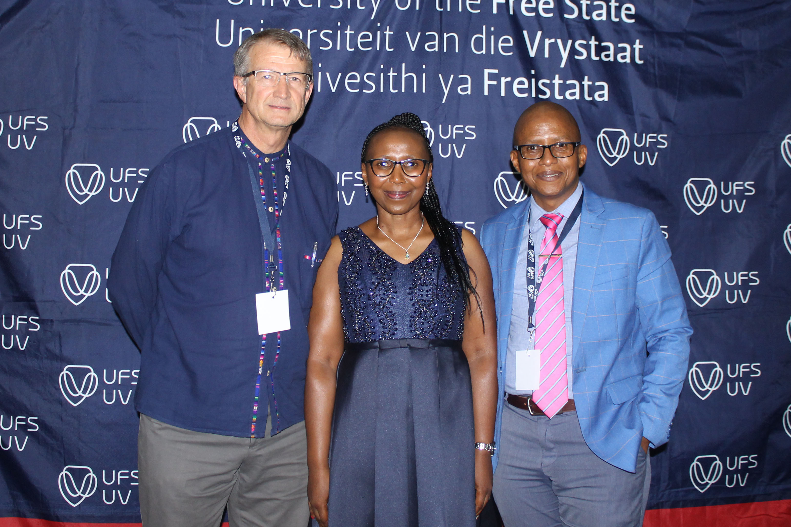 from the left: Thomas Stewart, Lecturer in the UFS Department of Urban and Regional Planning; Tshidi Koloi, MEC of Public Works, Infrastructure and Human Settlements; and Pura Mgolombane (Dean of Student Affairs at the UFS).