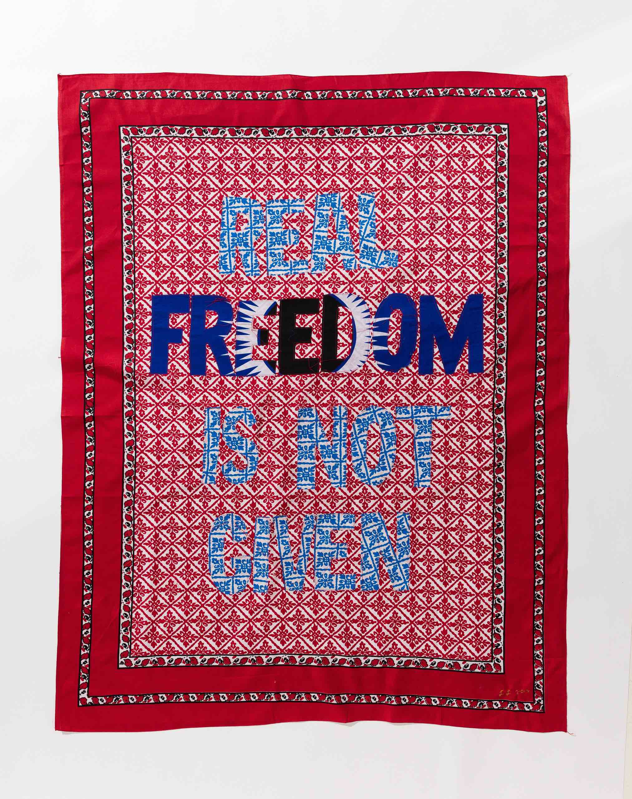 Lawrence Lemaoana, Real Freedom is not given, Khanga textile and cotton embroidery, 155xx115 cm, 2017-2