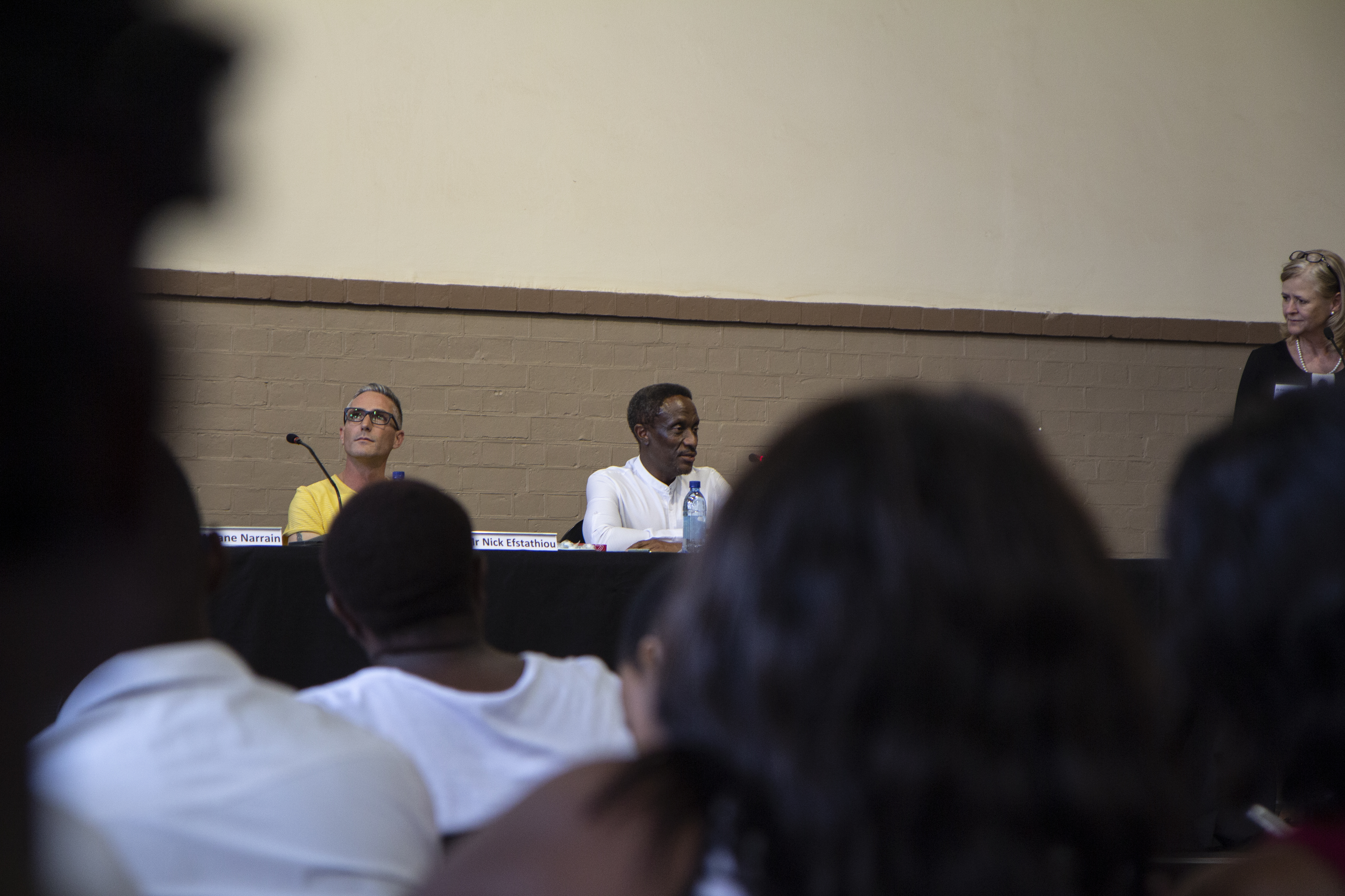 Nick Efstathiou listening to Dr Ivor Zwane (right)