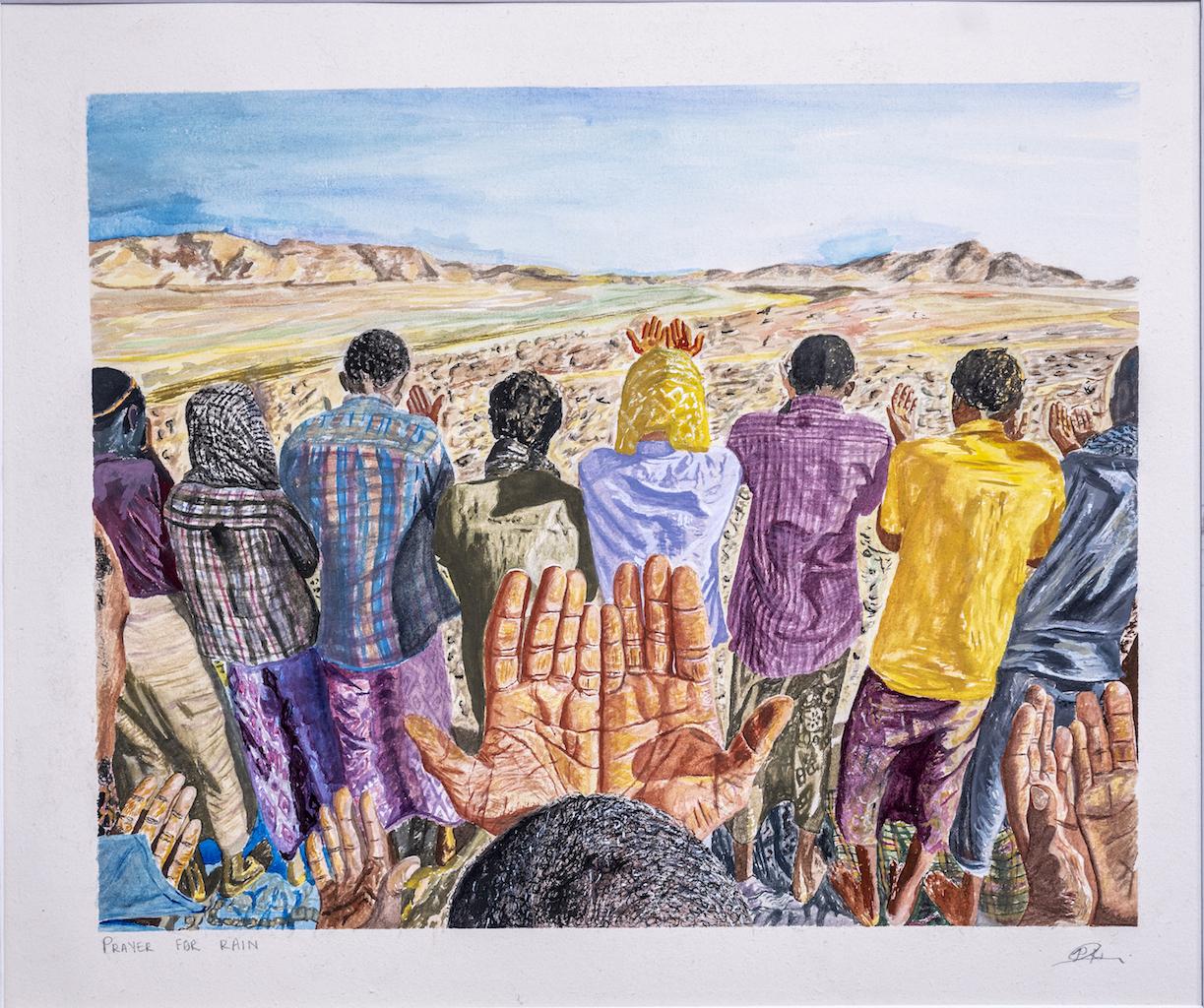 POLOKO MOHANOE, Prayer for rain, Gouache on Fabriano, 66 x 72.8 cm