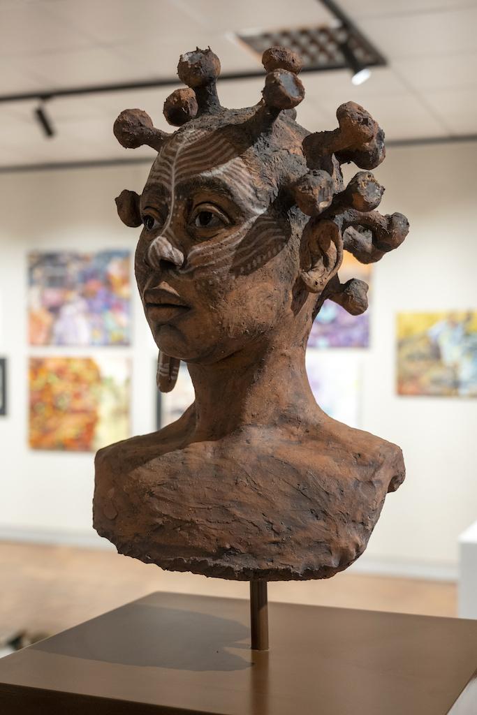 SEBOTSE SELAMULELA, In my image (Coronavirus head), Clay, 35 x 40 x 60 cm