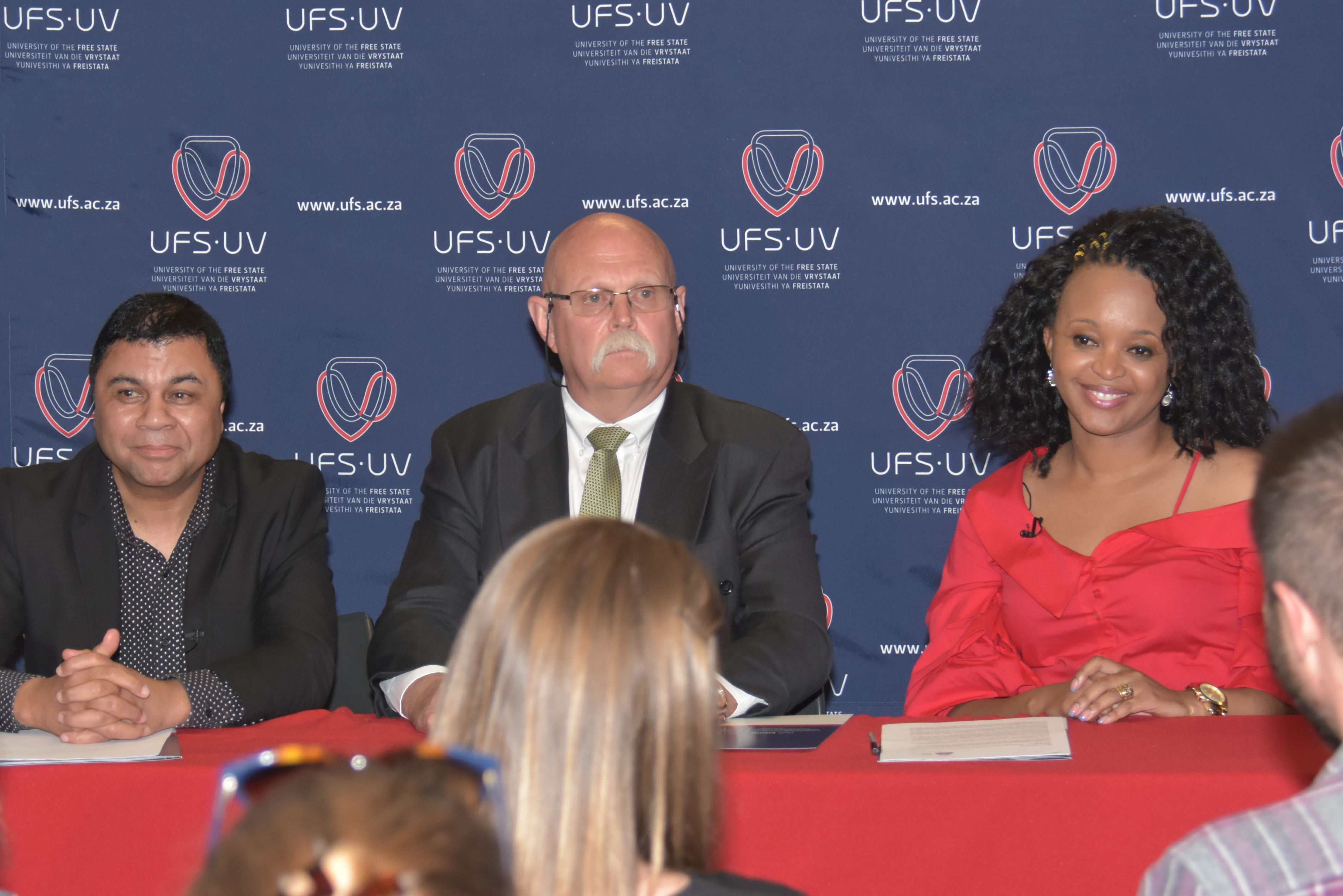From the left: Prof Francis Petersen, UFS Rector and Vice-Chancellor; Mr Willem Louw, Chairperson of the UFS Council; and Dr Nthabeleng Rammile, Vice-Chairperson of the UFS Council.