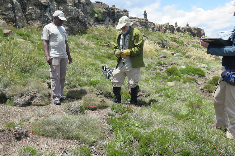 ARU Researchers on mountain slope
