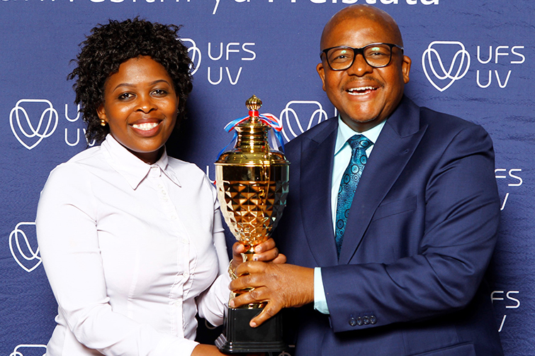 Qwaqwa Campus top academic achiever, Selloane Mile, with Campus Principal, Dr Martin Mandew.