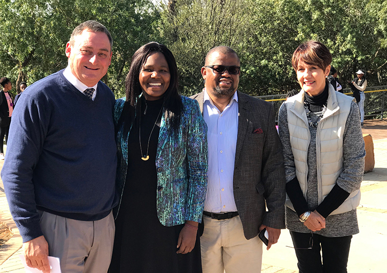 Chris Grobler, Eunice Qwelane, Bob Tladi, and Elmien Retief on the UFS South Campus during the Monyetla Bursary Project's Winter School.