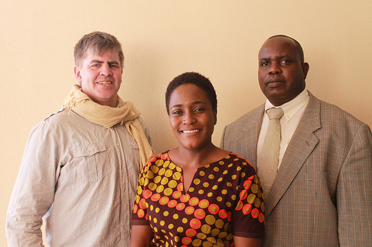 William Kandowe, principal of the Albert Street School in Johannesburg, Dr Faith Mkwananzi, the author, and DR Chris High
