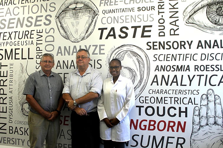 Prof Danie Vermeulen, Prof Arno Hugo, and master's student in Consumer Sciences, Mandisa Masuku in the newly renovated sensory laboratory in the Agricultural Building on the UFS Bloemfontein Campus.