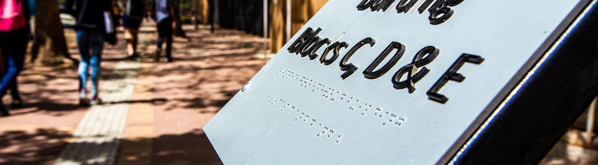 Braille signage on the UFS Bloemfontein Campus