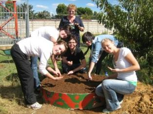Description: Earthworm and food garden project at Free State Care in Action Tags: earthworms, food garden, Free State Care in Action, MEX354, third-year medical students, service learnng