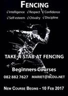 fencing beginners course advertisement