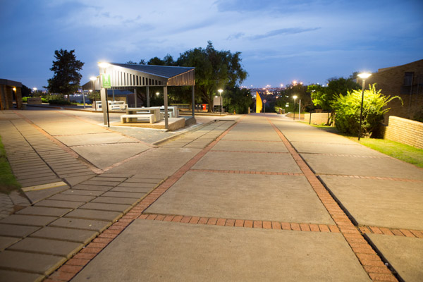 A view of the campus at night